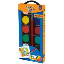 Boite de 12 Aquarelles Bic Kids Watercolours + 1 Pinceau offert