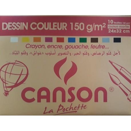 Pochette de 10 Canson Couleur 150g