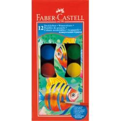 Boite de 12 Pastilles de Gouache Faber Castell + 1 Pinceau offert