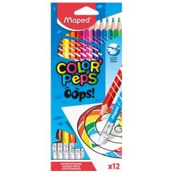 12 Crayons de Couleur effaçables Color Peps Maped avec gomme