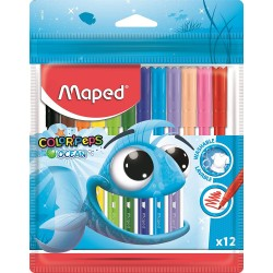 12 Feutres de coloriage Maped Color'peps Ocean