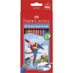 12 Crayons de Couleur Aquarelles Faber Castell Parrot + 1 pinceau gratuit