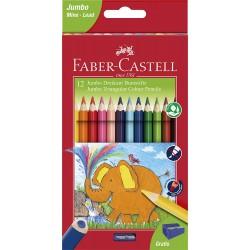 Boite de 12 crayons de couleur Jumbo triangulaire Faber Castell + 1 taille crayon gratuit