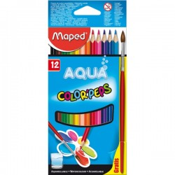 12 Crayons de Couleur Aquarelles Color Peps Maped + 1 pinceau gratuit