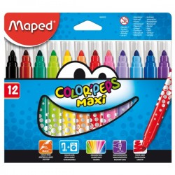 12 Feutres Maxi de coloriage Maped Color Peps