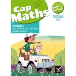 CAP MATHS CE2 - Nombres et calculs + Cahier grandeurs et mesures espaces et geometrie + Dico maths - Manuel - 2017 - Hatier