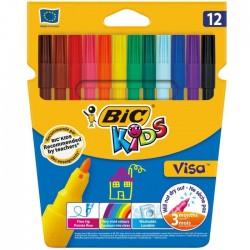 Pochette 12 feutres Bic Kids Visa pointe fine