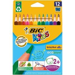 Pochette 12 Gros crayons de couleurs Triangle Bic Kids Evolution