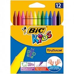 Boite de 12 crayons cire Bic Kids Plastidecor