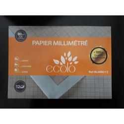 Pochette de 12 papiers millimetré Ecolo 80g