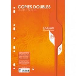 Copies doubles Calligraphe - A4 - Blanches - 120p - Petits carreaux - 70g - Perforées