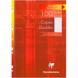 Copies doubles Clairefontaine - A4 - Blanches - 100p - Séyès - 90g - Perforées