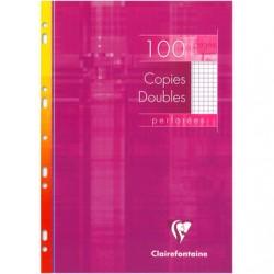 Copies doubles Clairefontaine - A4 - Blanches - 100p - Petits carreaux - 90g - Perforées