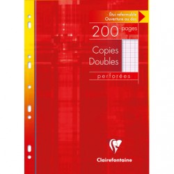 Copies doubles Clairefontaine - A4 - Blanches - 200p - Séyès - 90g - Perforées