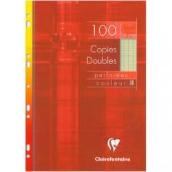 CCopies doubles Clairefontaine - A4 - Vertes - 100p - Séyès - 90g - Perforées