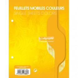 Feuilles simples Calligraphe - 17x22 - Jaunes - 100p - Séyès - 80g - Perforées