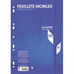 Feuilles simples Calligraphe - A4 - Blanches - 200p - Petits carreaux - 80g - Perforées