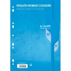 Feuilles simples Calligraphe - A4 - Bleues - 100p - Séyès - 80g - Perforées