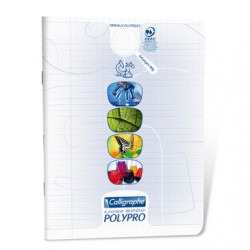 Cahier TP Polypro Calligraphe 64p - 17x22 - Transparent 90g - Piqué - Grands Carreaux