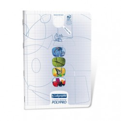 Cahier TP Polypro Calligraphe 96p - A4 - Transparent 90g - Piqué - Grands Carreaux